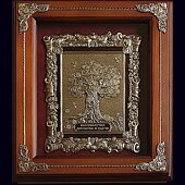 Деревянная ключница «Денежное дерево» с объёмным декором из меди