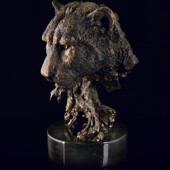 Скульптура «Голова пантеры» из латуни