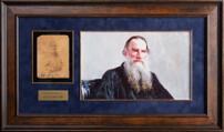 Фотография Льва Толстого с подлинным автографом с датой и адресом