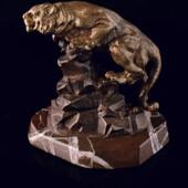Сувенир «Барс на скале» из латуни