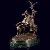 Скульптура «Соколиная охота» из латуни