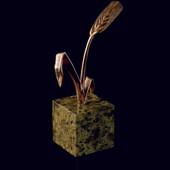 Статуэтка «Колосок» 16 см из латуни на пьедестале из змеевика