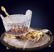 Икорница «Рак» из позолоченной бронзы, никеля и подставки из агата