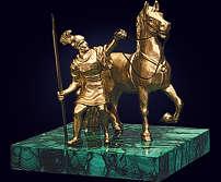 Пресс-папье «Римский воин» из позолоченной бронзы и малахита