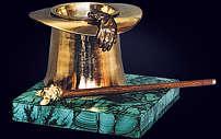 Пепельница «Эсквайр» из позолоченной бронзы и малахита