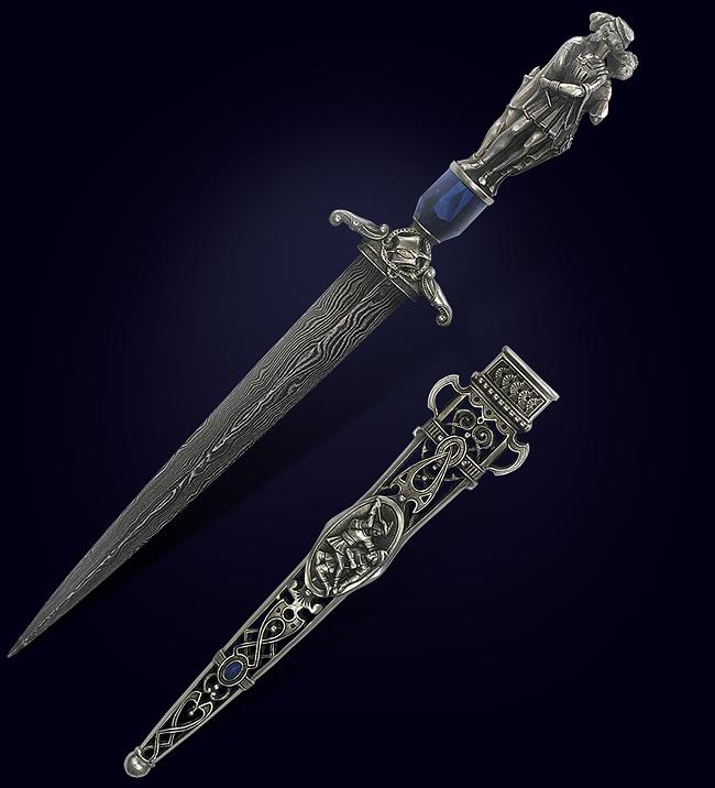 Нож для разрезания бумаги «Любовный треугольник» из серебра 925 пробы и полудрагоценных камней