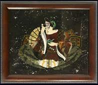 Мозаичное панно «Богач» из полудрагоценных камней в багете