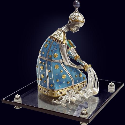 Ювелирная композиция «Водолей» из серебра с сапфирами и жемчугом